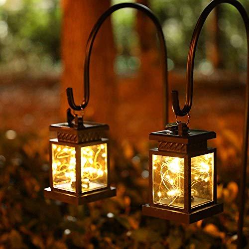 JHY DESIGN Juego de 2 Luces de linterna solar Energía solar impermeable al aire libre Lámpara de mesa Iluminación colgante LED de hadas para patio, decoración de paisaje(con abrazadera)
