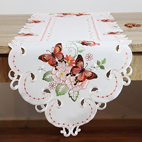 Kamaca Serie Lovely Butterflies bestickte Schmetterlinge und Blumen Filigrane Stickerei Eyecatcher in Frühling Sommer (Tischläufer 40 x 140 cm)