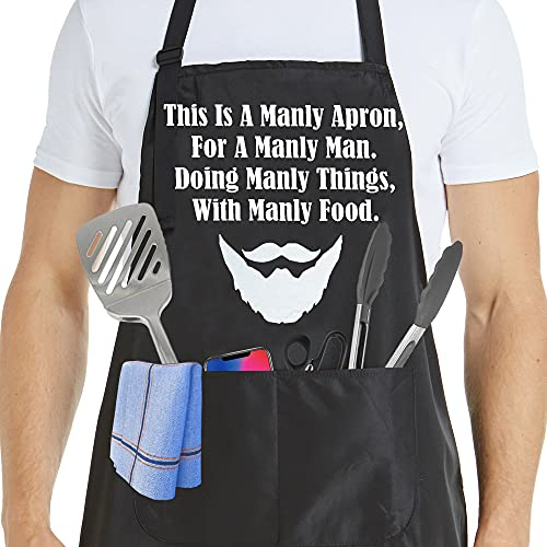 Fathers Day Gifts Mens Apron Cooking Chef Kitchen Dad Funny Apron with Pockets Aprons for Mens...