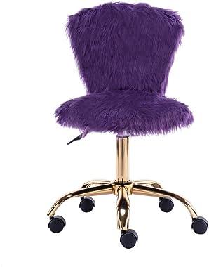 GIA Mid-Back Adjustable Swivel Vanity Chair, Faux Fur Purple