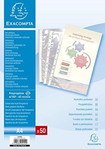 Exacompta - Réf 5250E - Un Paquet de 50 Pochettes Perforées Polypro Lisse A4 6/100ème Ouverture par le Haut