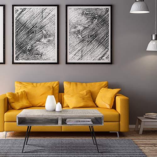 WOMO-DESIGN Moderner Couchtisch 100cm Grau Massivholz Mangoholz mit 2 Schubfächer und schwarzen Hairpin Legs aus Metall Retro-Look Wohnzimmertisch Sofatisch Beistelltisch Holztisch für Wohnzimmer