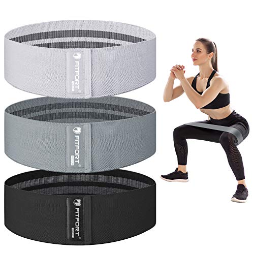 FITFORT Resistance Bands for Legs and Butt Exercise Bands - 3 Levels Fabric Workout Bands, Non Slip Elastic Booty Bands Women Sports Fitness Band for Squat Glute Hip Training