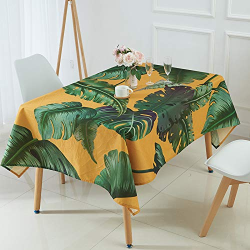 WSJIABIN Home Decor Tablecloth Nordic Style Tropical Green Plant Linen Waterproof Tablecloth Palm Leaf Coffee Table Tablecloth Tablecloth