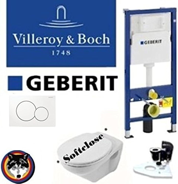Geberit Duofix UP 320 Vorwandelement, V&B Omnia Classic WC Komplettset + Deckel Softclose, Ceramicplus Drückerplatte weiss