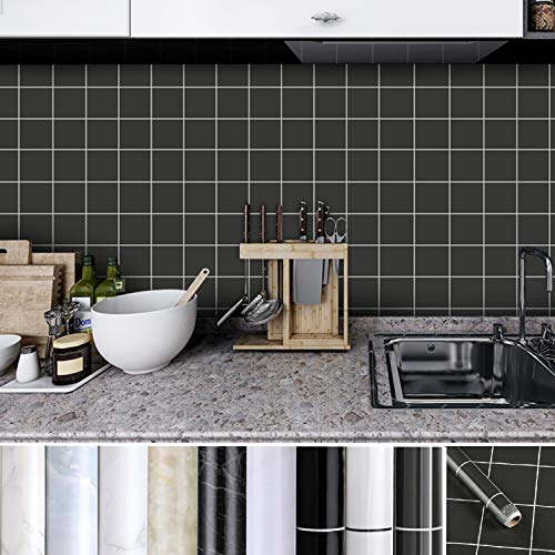 Kinlo Zelfklevende meubelsticker, waterbestendig, van hoogwaardig pvc, wandbehang, decoratiefolie, 0,61 x 5 m, zwart plaid-muursticker, plakfolie voor keuken 1 Rollo grijs