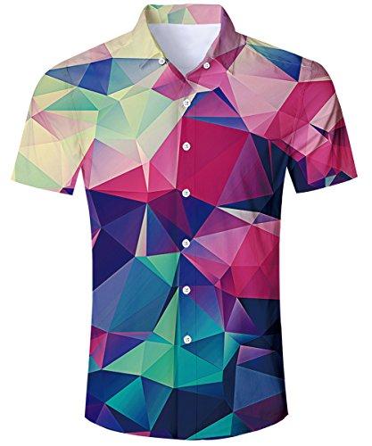 TUONROAD Hemd Herren Kurzarm Funny Geometrische 3D Gedruckt Muster Bunte Funky Shirt Hawaiihemd Sommerhemd Button Down Blau Hawaihemden Strandhemd Hawaii Hemd Rot Männer Jungen,2 Geometric,XXL