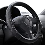 Elantrip Sport Leather Steering Wheel Cover 14 1/2 inch to 15 inch Universal, Padded Soft Grip...
