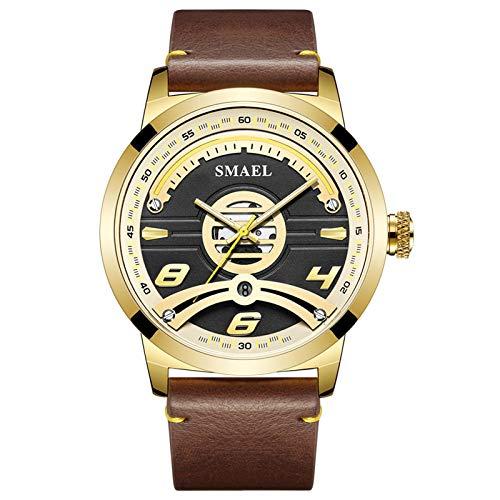 JTTM Relojes Militares para Hombre Reloj Deportivo De Cuero De Cuarzo Impermeable con Fecha Informal,Oro