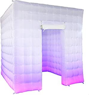 Inflatable Portable Photo Booth-DIY Selfie Photo Booth Tent Enclosure with 17 Colors LED Changing Lights and Inner Air Blower for Christmas Day, New Year,Parties,Promotions Advertising (1 Door)