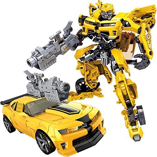 VNUSToys Children Robot Toy Transformation Anime Series Action Figure Toy 2 Size Robot Car ABS Plastic Model Action Figure Toy for Child (Yellow Style)