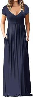 Women O Neck Short Sleeve Solid Long Dress ❀ Ladies Fashion Maxi Tank Long Dress Party Casual Maxi Dress