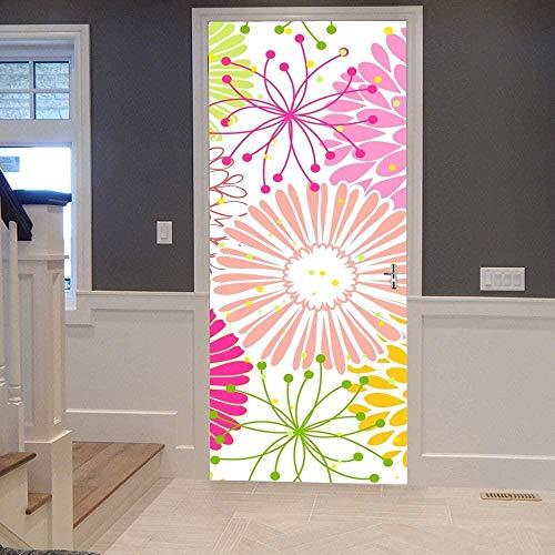Etiqueta Engomada Etiqueta Puerta 3D Autoadhesivo Papel Pintado Puerta Extraíble de Mural Acrílico Impermeable Decoración Cocina Baño,Día de la Madre77x200cm Crisantemo acuarela