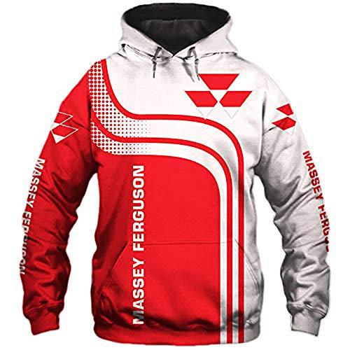 Jacket Sweat-Shirt à Capuche - Massey Ferguson Imprimé Unisexe Capuche Baseball Printemps Sportswear Décontracté Uniforme Top Coat - Ados Cadeaux Red+White-XXXL