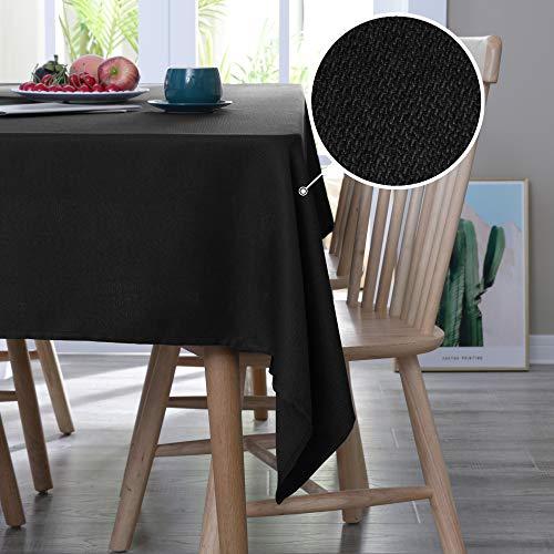 Deconovo Tischdecke Leinenoptik Lotuseffekt Tischwäsche Wasserabweisend Tischtuch 132x178 cm Schwarz