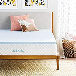 top 10 comforpedic mattress topper LINENSPA, 2 Queen Memory Foam Mattress Pad, 2""
