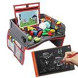 OUNUO Kinder Reisetisch + 8,5 Zoll LCD Schreibtafel Multifunktion Knietablett Reisetisch Faltbar Auto Kindersitz Spieltisch 5 Zeichenpapier und 6 Farbstifte (ROT)