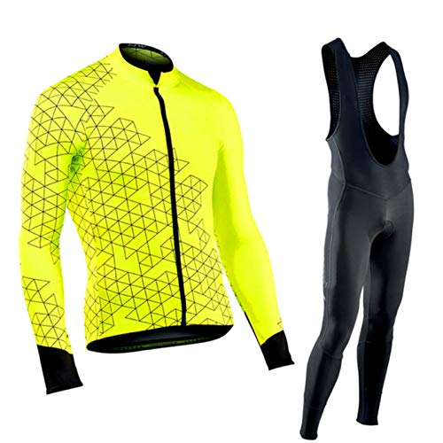 QWA MTB Carretera Bicicleta Jersey Conjuntos Mantener Calentar Manga Larga Ciclismo Atuendo, Hombres Respirable Pro Equipo Carreras Invierno Bicicleta Ropa (Color : Yellow, Size : A(XS))