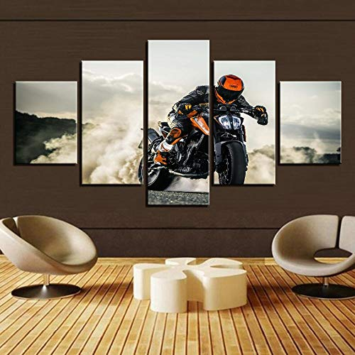 QMCVCDD Wall Art - Decoracion Sala De Pared 5 Piezas Moto Cross Running Modernos Mural Fotos 5 Piezas XXL Impresiones Regalo Creativo