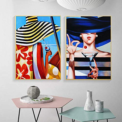 Moda mujer con sombrero cartel de arte de pared figura abstracta cereza vino lienzo pintura impresión pintura nórdica para decoración del hogar 40x60cmx2 Sin marco