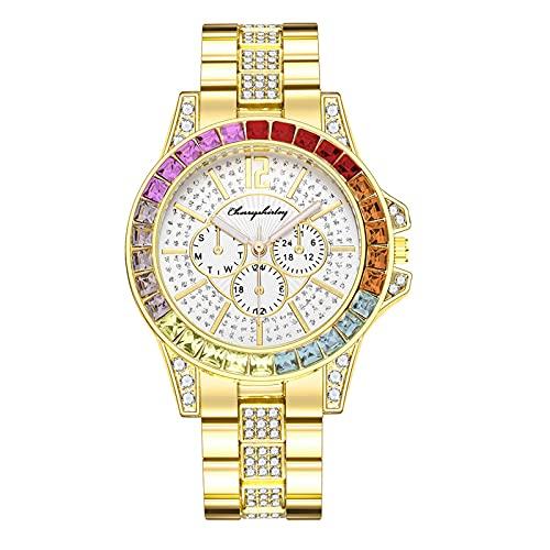 Graceyo Damenuhr Luxus Kristall Armbanduhren Frauen Wasserdicht Damenuhr Quarz Damenuhren Mode Frauen Uhren Damen Armbanduhren Für Frauen Quarzuhr mit Edelstahlarmband
