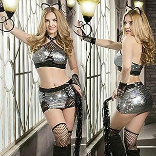 Xiaopf 新しいポルノ女性ランジェリーセクシーなホットエロアパレル包帯コスプレセクシーな下着スパンコールエロランジェリーポルノ衣装