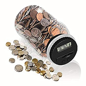 Digital Coin Bank HeQiao Clear LCD Piggy Bank Simple Auto Counting Large Money Box Coins Savings Jar for US Coins  Silver