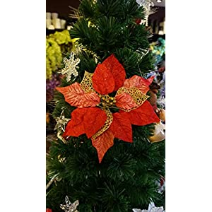 "Sweet Home Deco 10"" Silk Poinsettias Artificial Flower Heads Christmas Holiday Decorations (5 Flower Heads) (Red)"