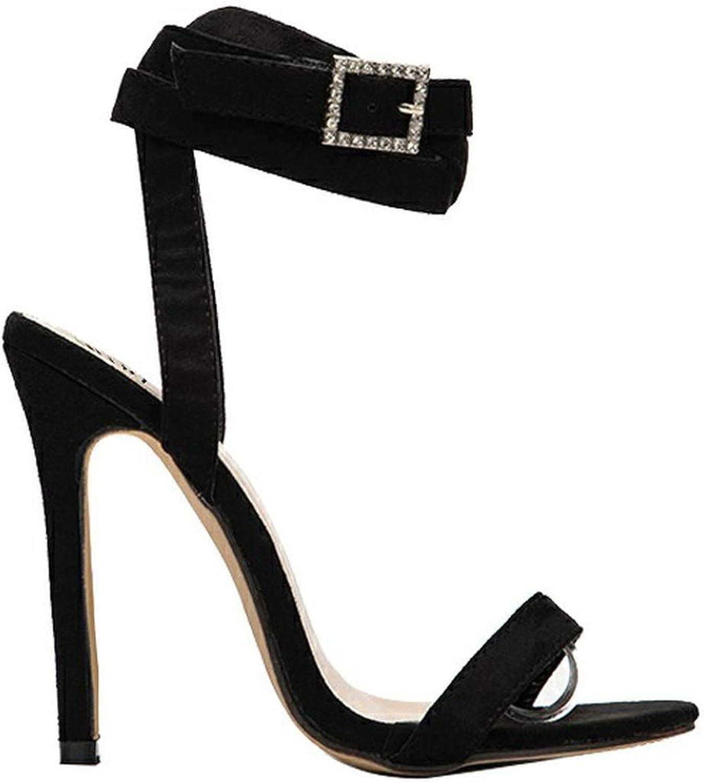 Women High Heel Sandals Solid Buckle Open Back Thin Heel Summer Sandals Women shoes