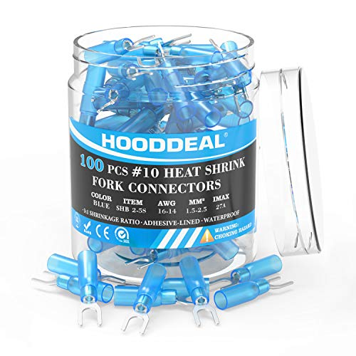 HOODDEAL 100PCS Male Fork Spade Insulated Heat Shrink Butt Wire Nylon Quick Connectors Electrical Crimp Terminal (Wire 1.5-2.5mm², Screw M5, AWG 16-14), Blue