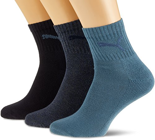 PUMA Unisex Short Crew Socken 3er-Pack, Denim Blue, 39/42
