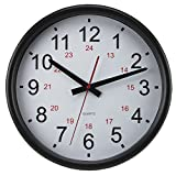 Timekeeper Tuxedo 24 Hour Clock with Flat Glass Lens and White/Red/Black Numbers, 14-Inch