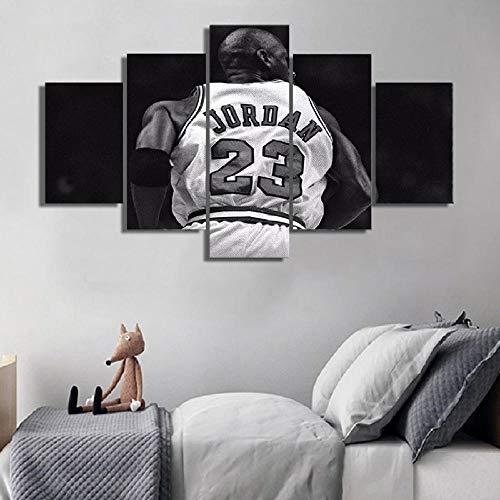 WADPJ 5 Piezas Michael Jordan póster Imagen Pared Arte Impresiones Lienzo Pintura niños niños Dormitorio decoración-40x60 40x80 40x100cm sin Marco