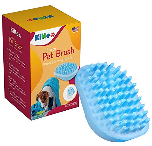kitte Dog Bath Brush - Best Pet Bathing Tool for Dogs – Soft Silicone Bristles Give Pet Gentle Massage