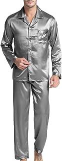 Men's Satin Pajamas Long Button-Down Pj Set Sleepwear Loungewear