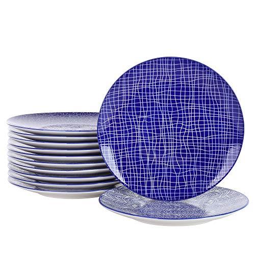 vancasso Takaki Plato Plano de 12 Piezas de Porcelana, Ø 27 cm Plato Grande para cenar, Juego de platosde Porcelana, Ø 27 cm Plato Grande para cenar, Juego de Platos Plato de Ensalada