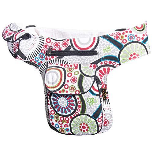 KUNST UND MAGIE Goa Schulter/Bauchtasche Gürteltasche Bauchgurt Hippie Psy, Farbe:Weiß