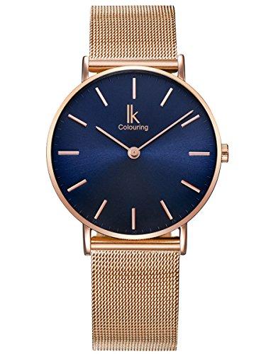 Alienwork Navy Blue Damen Herren Armbanduhr Quarz Rose-Gold mit Metall Mesh Armband Edelstahl blau Ultra-flach Slim-Uhr