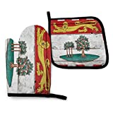 Fuyon Prince_Edward_Island Flag 911 Dispatcher Thin Gold Line Flag Oven Mitts and Potholders BBQ Gloves-Oven Mitts and Pot Holders Cooking Gloves for Kitchen Cooking Baking Grilling Set of 2