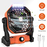 RUNACC Camping Fan LED Lantern Portable 5000mAh Battery Operated Fan for Desk, Quiet and Powerful USB Rechargeble Tent Fan...