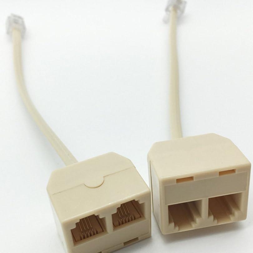動作先想定LIKEME 2分岐アダプ 電話配線分配アダプター 電話回線スプリッタ  (1個入り)