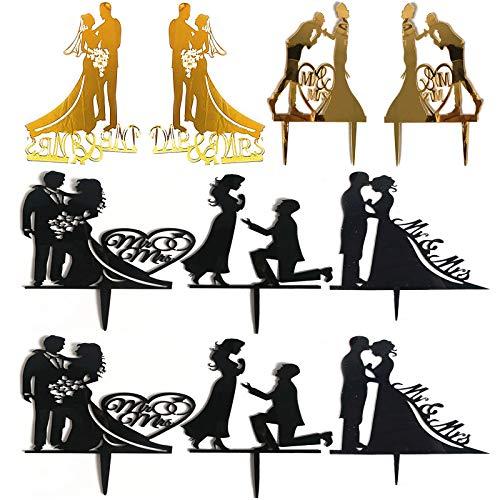 Topper con Sagoma di Coppia Sposa e Lo Sposo Nozze Silhouette per la Festa di Fidanzamento Decorazioni per Torte di Anniversario per la Festa di Matrimonio di Fidanzamento Festa di Compleanno 10 pz