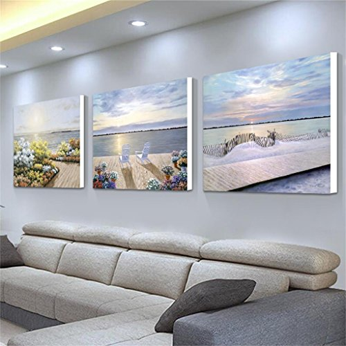 Mr.Zhang's Art Home Painting 50 * 50 * 2.5 cm Salon Peinture PVC Tissu Film canapé Fond Tenture Murale triptyque Restaurant