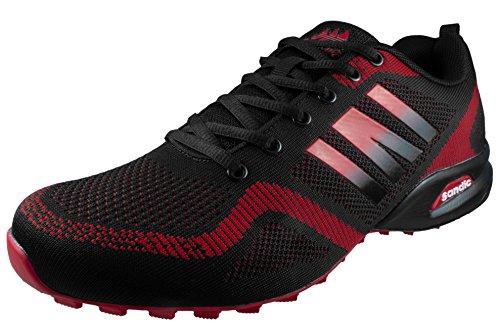 LEKANN No.302 Herren | Traillaufschuhe Sportschuhe Turnschuhe Sneaker | Leicht rutschfest | Schwarz-Rot Gr. 44 EU