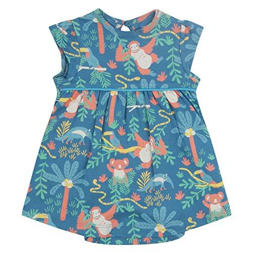 Piccalilly Robe bébé avec Body intégré, Jersey Doux, Coton Biologique, imprimé forêt Tropicale Bleu - Bleu - 3 Mois