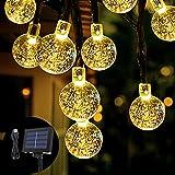 Solar Lichterkette Opard 6M 30LED Solar Garten Lichterkette Kristall Kugeln Garten Licht für Garten, Bäume, Terrasse, Weihnachten, Hochzeiten, Partys, Innen und außen (Warmweiß)