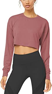 Bestisun Women's Crop Tops Long Sleeve Workout Shirts Cute Athletic Yoga Shirts with Thumb Holes