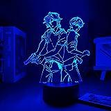 3D Night Lights Anime for Boys, ASH Lynx and Eiji Okumura LED Anime LAMP Banana Fish 3D Led Light Anime Base Table Lamp ( Emitting Color : with A Controller )