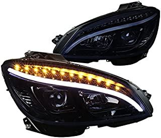 For Mercedes Benz W204 C Class LED Glossy Black Projector Headlights Headlamps Pair
