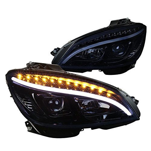 Spec-D Tuning For Mercedes Benz W204 C Class LED Glossy Black Projector Headlights Headlamps Pair
